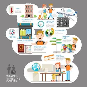 Elemento de planejamento de cronograma de viagens. .