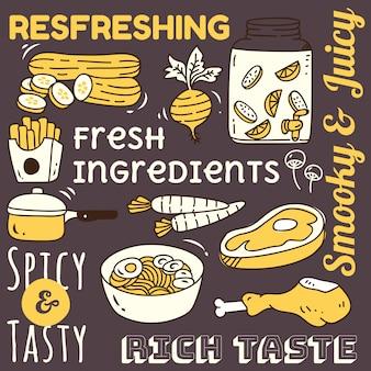 Elemento de plano de fundo do restaurante com comida e bebida doodle