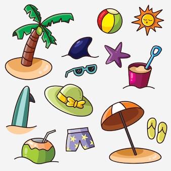 Elemento de praia verão, conjunto de ícones do vetor