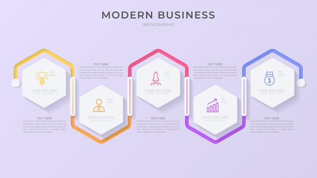 Elemento de processo infográfico criativo com ícone e texto editável