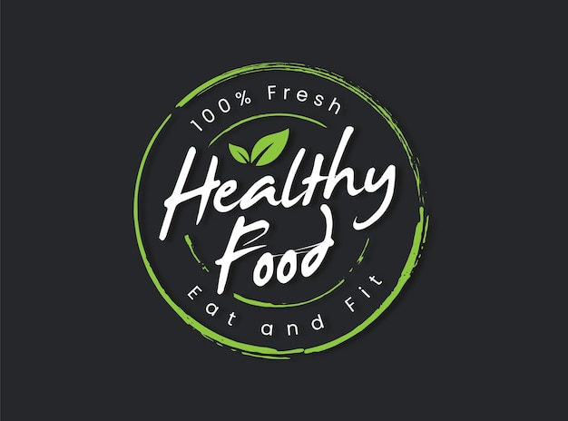Elemento de rótulo de rótulo de comida saudável e logotipo de vetor