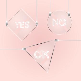 Elemento de tag de vidro de design para mensagem curta
