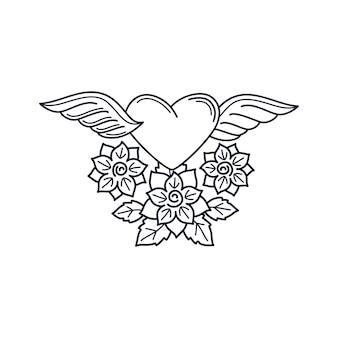 Elemento de tatuagem de linha de coração e rosas