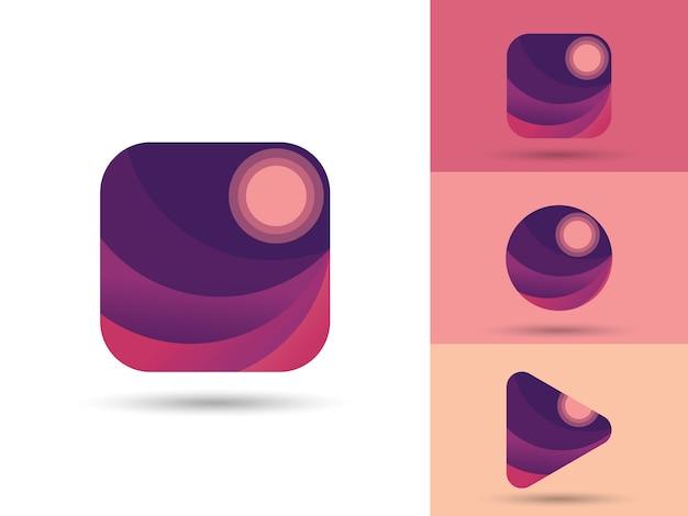 Elemento de ui / ux do logotipo do aplicativo da galeria