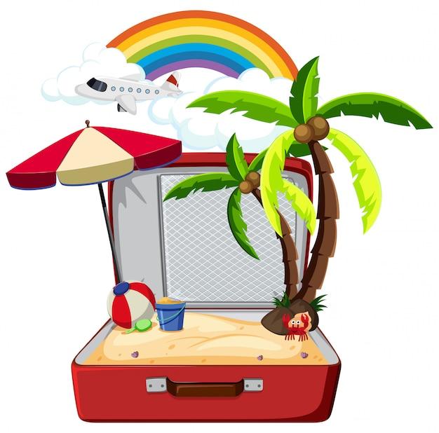 Elemento de verão na mala