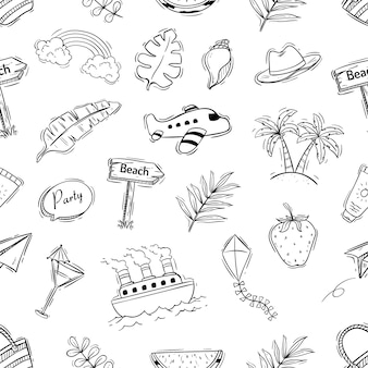 Elemento de verão no padrão sem emenda com estilo doodle