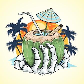 Elemento de vetor de árvore de coco de esqueleto de praia de mão de verão