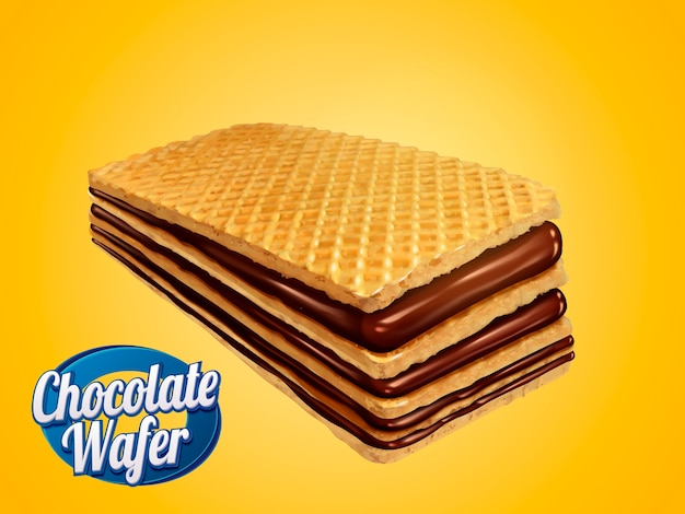 Elemento de wafer de chocolate, biscoito crocante com recheios de calda de chocolate isolados em fundo amarelo