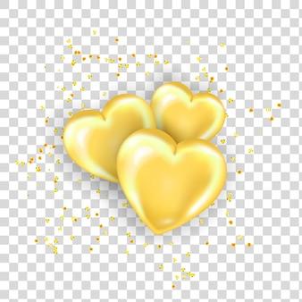 Elemento decorativo com corações dourados brilhantes e lantejoulas com sombra isolada em fundo transparente.