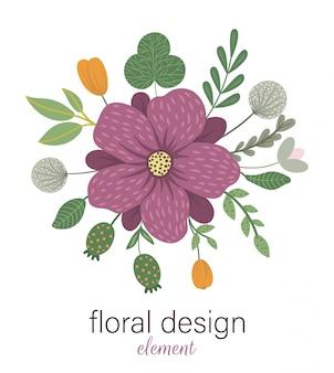 Elemento decorativo redondo floral de vetor. ilustração na moda plana com flores, folhas, galhos. prado, bosques, floresta clip-art. lindo buquê de primavera ou verão isolado no branco