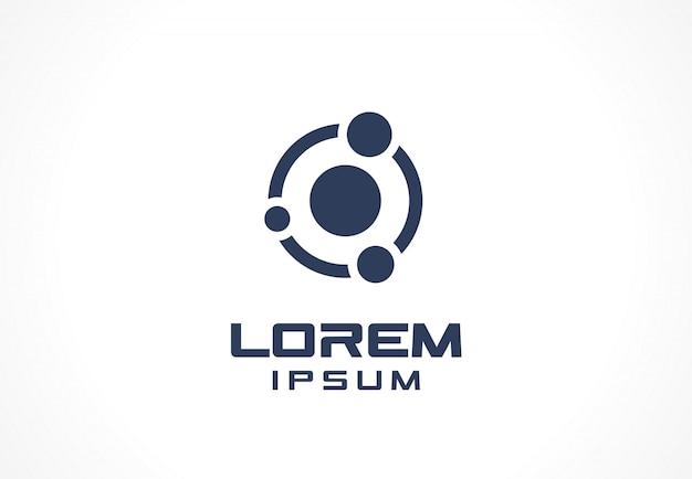 Elemento do ícone. idéia abstrata logotipo para empresa de negócios. órbita, conexão, comunicação, tecnologia, ciência e conceitos médicos. pictograma para o modelo de identidade corporativa. ilustração.