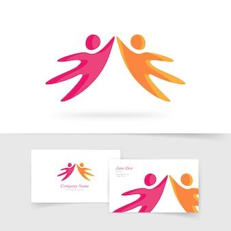 Elemento do logotipo abstrato de duas pessoas de mãos dadas