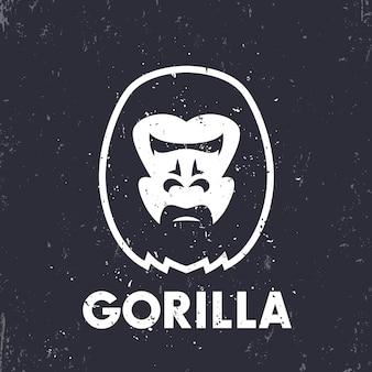 Elemento do logotipo da cabeça de gorila com textura grunge