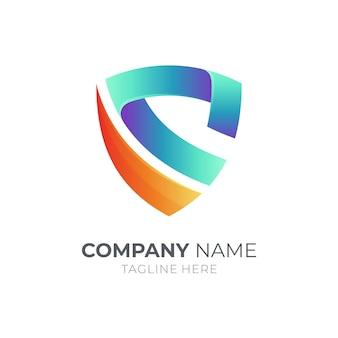 Elemento do logotipo da empresa shield letter s