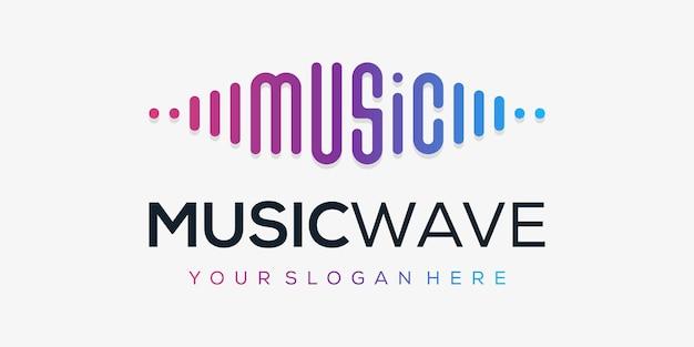 Elemento do player de música com pulso. modelo de logotipo