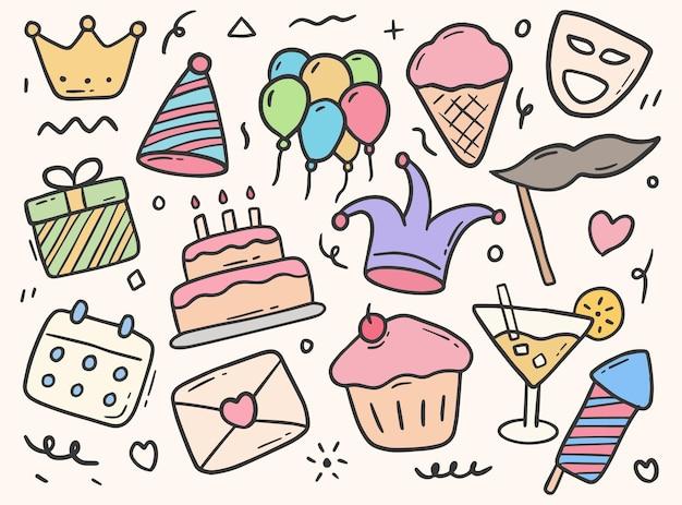 Elemento doodle de festa de aniversário