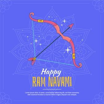 Elemento festivo de mão desenhada ram navami