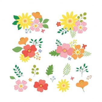 Elemento floral colorido com flores e folhas