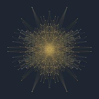 Elemento fractal com linhas conectadas e pontos. complexo de big data. comunicação de fundo virtual ou compostos de partículas. visualização de dados digitais, matriz mínima. linhas de plexo. ilustração.