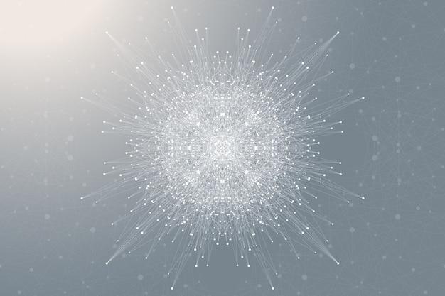 Elemento fractal com linhas conectadas e pontos. complexo de big data. comunicação de fundo virtual ou compostos de partículas. visualização de dados digitais, matriz mínima. linhas de plexo.