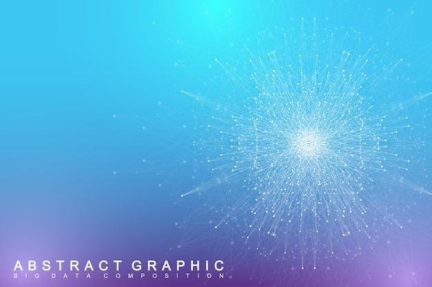 Elemento fractal com linhas conectadas e pontos de comunicação de fundo virtual complexo de grande volume de dados ou p ...