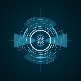 Elemento futurista de hud em fundo escuro. interface de usuário de alta tecnologia. alvo virtual abstrato, ilustração