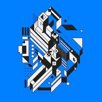 Elemento geométrico abstrato no fundo azul. estilo do futurismo e do construtivismo. útil como impressões ou cartazes.