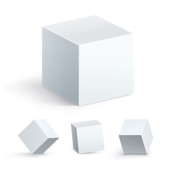 Elemento geométrico, figura de geometria de forma de coleção. ícone de cubo definido em perspectiva, isolado no fundo branco