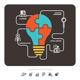 Elemento gráfico de conceito de trabalho em equipe de negócios