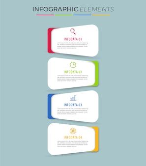 Elemento gráfico de informações de negócios com opções, etapas, design de modelo de número