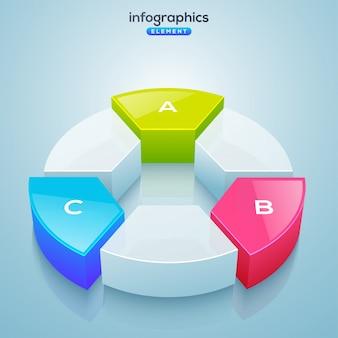 Elemento infográfico 3d, ou gráfico com três (3) passos.