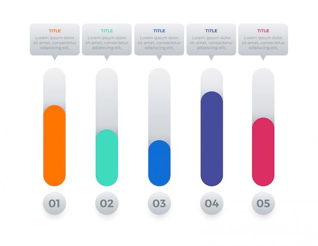 Elemento infográfico com 5 opções
