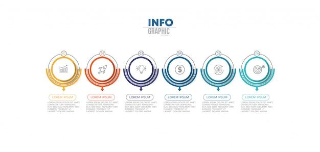 Elemento infográfico com 6 opções ou etapas. pode ser usado para processo, apresentação, diagrama, layout de fluxo de trabalho, gráfico de informação, design web.