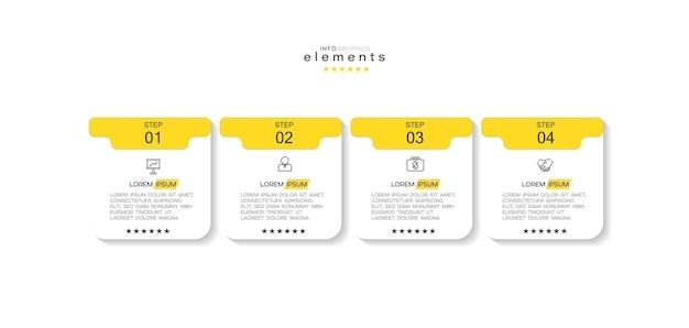 Elemento infográfico com ícones e 4 opções ou etapas