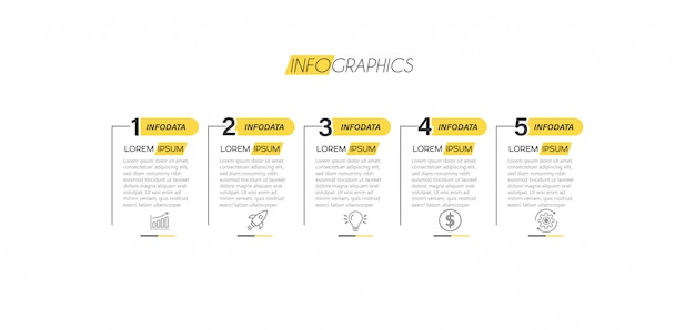 Elemento infográfico com ícones e 5 opções ou etapas.