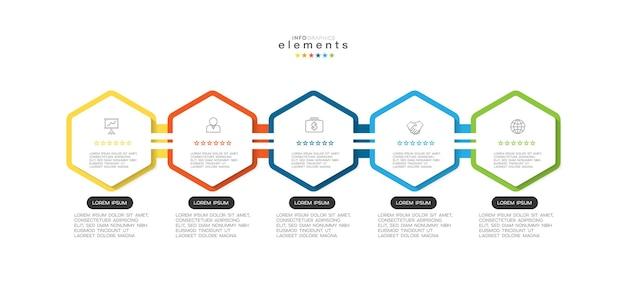 Elemento infográfico com ícones e 5 opções ou etapas
