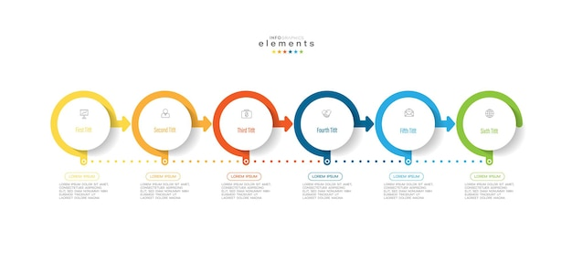 Elemento infográfico com ícones e 6 opções ou etapas