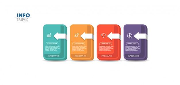 Elemento infográfico com ícones e quatro opções ou etapas. pode ser usado para processo, apresentação, diagrama, layout de fluxo de trabalho, gráfico de informação, design web.