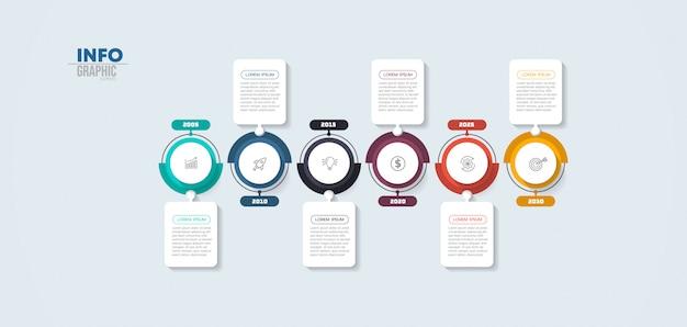 Elemento infográfico com ícones e seis opções ou etapas. pode ser usado para processo, apresentação, diagrama, layout de fluxo de trabalho, gráfico de informação, design web.