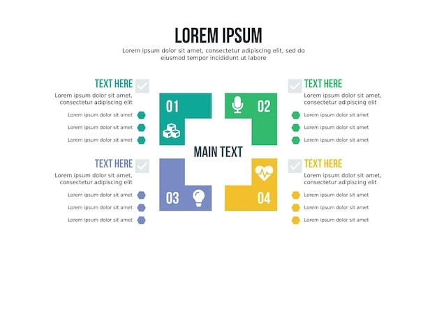 Elemento infográfico de quatro quadrados e modelo de apresentação
