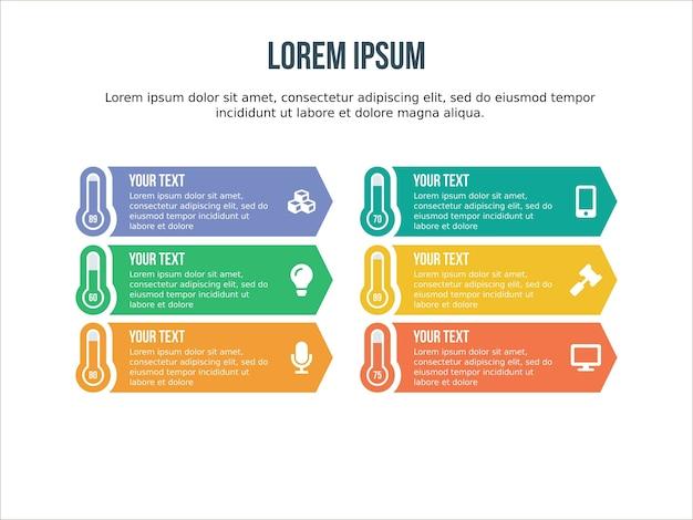 Elemento infográfico termométrico e modelo de apresentação