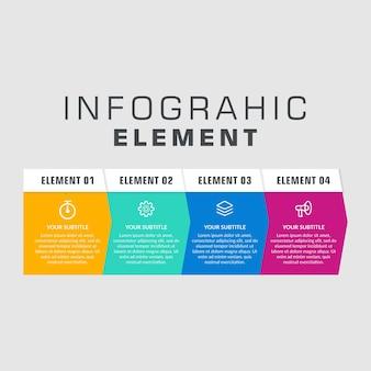 Elemento infograohic com ícones para estratégia de negócios