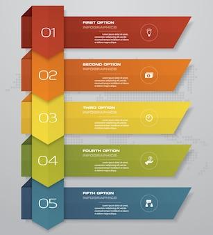 Elemento infographic da seta de 5 etapas para a apresentação.