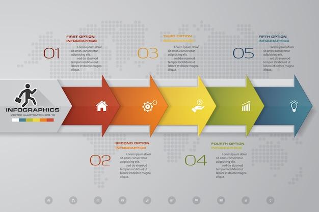 Elemento infographic da seta do espaço temporal de 5 etapas.
