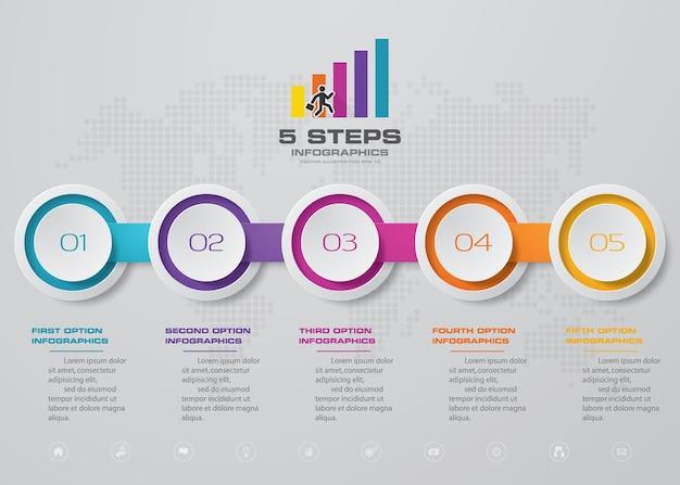 Elemento infographic do gráfico da linha do tempo de 5 etapas.