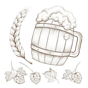 Elemento ingrediente da cerveja retrô, barril de cerveja, trigos e lúpulo em estilo de gravura