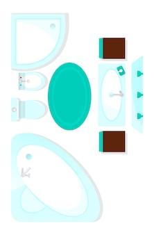 Elemento interior do banheiro de vista superior