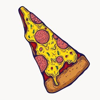 Elemento isolado pizza do projeto gráfico do clipart da ilustração. pizza gordurosa com pingos de queijo