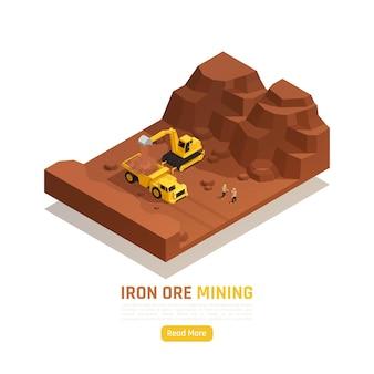 Elemento isométrico de mineração a céu aberto de recursos naturais com escavadeira coletando e carregando depósitos de minério de ferro