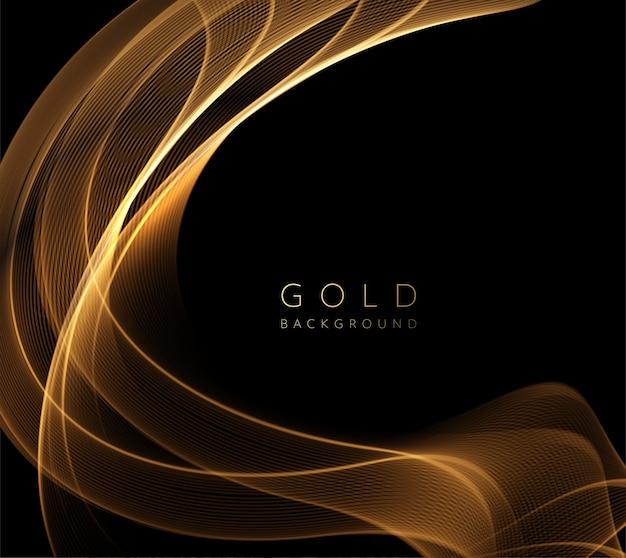 Elemento ondulado dourado brilhante abstrato. fluxo de onda de ouro em fundo escuro.